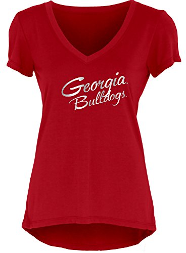 Blue 84 NCAA Georgia Bulldogs Women's Liquid Jersey V-Neck, Red, Large