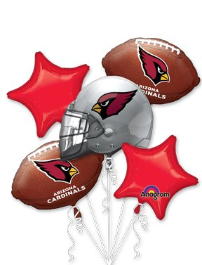 Arizona Cardinals Football Balloon Bouquet- NFL Team Party Supplies Set