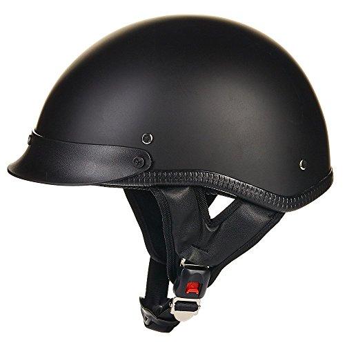 ILM Open Face Motorcycle Helmet Quick Release Skid Lid Skull Cap Half Helmet DOT Matte Black (L) - Face Buckle
