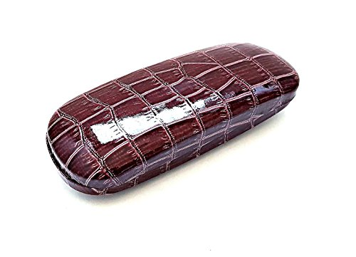 Glossy Crocodile Pattern Design Leather Faux Hard Clam Shell Case for Small Medium Eyeglasses - Fake Glasses Trend
