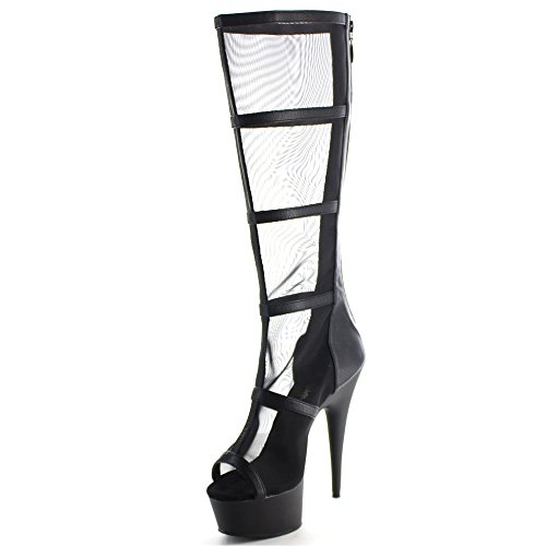 Pleaser DELIGHT-2031 Blk Pu-Mesh/Blk Matte Size UK 4 EU 37