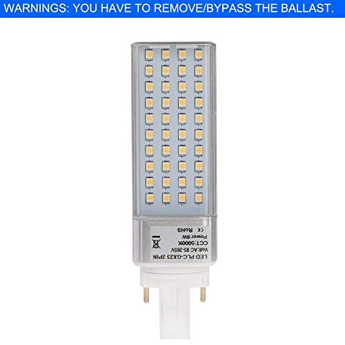 - HERO-LED  GX23D-8W-DW Rotatable PL-S Lamp GX23D 2-Pin LED CFL/Compact Fluorescent Lamp Replacement, 8W, 18W Equal, Daylight White 5000K (Remove/Bypass The Ballast)
