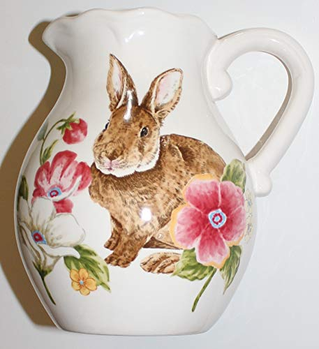 - Maxcera Easter Floral Bunny Ceramic Pitcher - 8-1/2