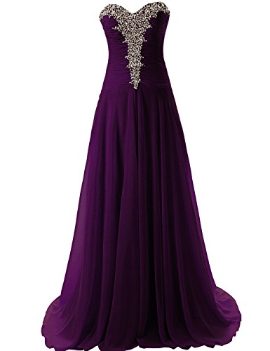 JAEDEN Women's Long Strapless Evening Dresses Chiffon Prom Gown Sweetheart Pleat Grape US28