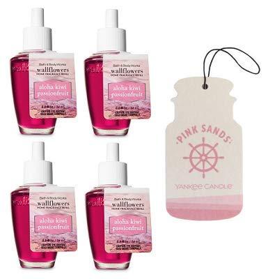 Bath and Body Works 4 Pack Aloha Kiwi Passionfruit Wallflowers Fragrance Refill. 0.8 fl oz. + Paperboard Car Jar Pink Sands.