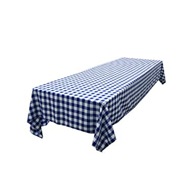 LA Linen Checkered Tablecloth, 60 by 120-Inch, Royal Blue