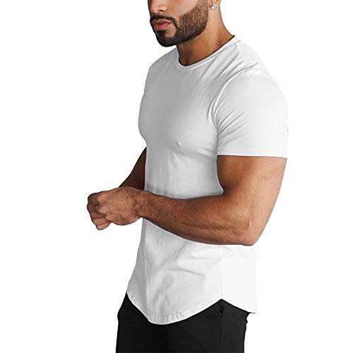 (GymRevolution Men's Super Longline Curved Hem Short Sleeved Crew Neck Relaxed Fit T-Shirt White S)
