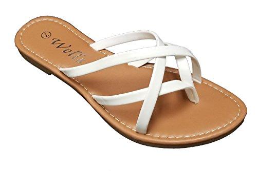 Elegant Women's Fashion Strappy White Flat Sandals White 8.5, M (Elegant Strappy Sandal)