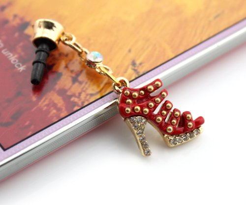 Nine States Crystal Bling Rhinestone Elegant Wedge Shoe high-heel 3.5mm Headphone Jack Anti Dust Plug Ear Cap for Iphone 5 5S 5C iphone4,4s,ipad ,Ipod Touch ,Samsung Galaxy S3 S4 Note 3 Note2,Blackberry and Other Cellphone Red