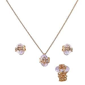 Shining Jewel Metallic Oval Zirconia Gold Plating Necklace Set With Finger Ring (SJ_2034)