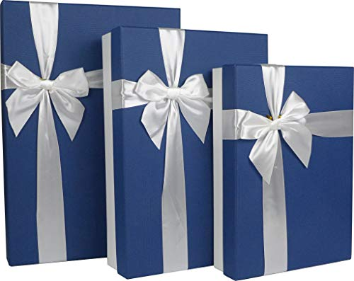 Cypress Lane Rectangular Gift Boxes with Ribbon, a Nested Set of 3 (White/Blue) -