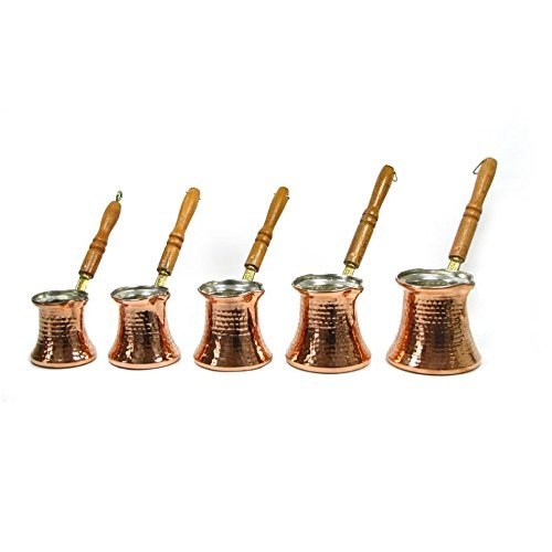 Set of 5 Turkish Copper Coffee Pot Cezve Greek Handmade Traditional by Istanbul Gift Shop