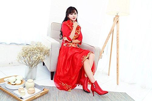 hexiajia - Sandalias de Vestir Mujer Rojo