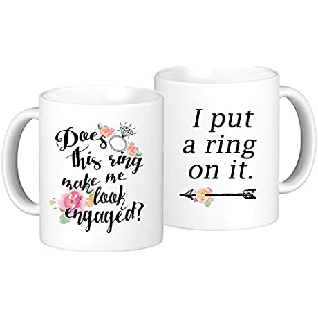 Engagement Coffee Mug Set Does This Ring Make Me Look Engaged And I Put A Ring On It 2 11oz Mugs In White Gift Boxes SET