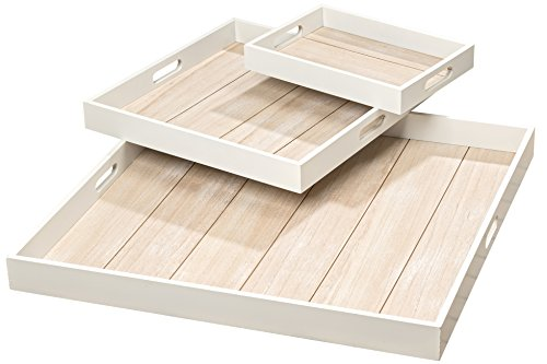 Whole House Worlds The Cape Cod Shiplap Trays, Set of 3, Rustic White With Natural Inset, Sustainable Wood, Small - 11 3/4, Medium - 15 3/4 and Large 23 1/2 Inches Long, By