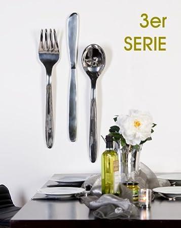 3er Set Wand-Objekt *Messer+Gabel+Löffel* XL Aluminium silber ...