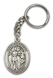 Antique Silver St. Sebastian Religious Keychain. Made in USA!