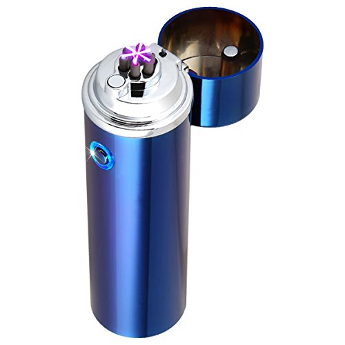 Kivors XL Cigar Lighter - Triple Arc Plasma Beam Lighter - Rechargeable Windproof Electronic Plasma Torch Lighter (Blue)