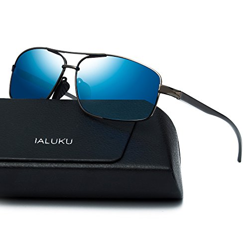 ALUKU Rectangular Polarized Sunglasses for Men Square Retro Aviator Sunglasses (Grey / Blue, 60)  Price: $19.99