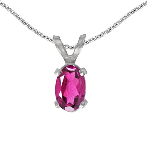 FB Jewels Solid 14k White Gold Genuine Birthstone Oval Pink Topaz Pendant (0.43 Cttw.)