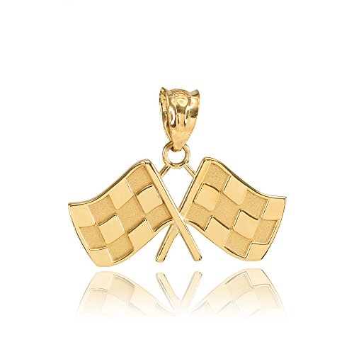 - 14k Yellow Gold Racing Flags Charm Pendant
