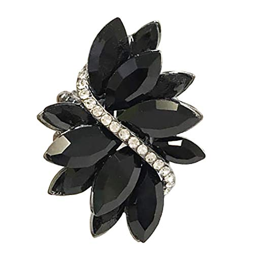 (Rosemarie Collections Women's Sparkly Multi Crystal and Rhinestone Stretch Statement Cocktail Ring (Black/Hematite))