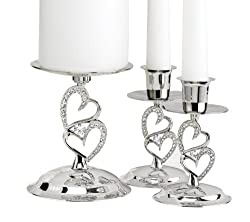 Love Set Candle Stands With Rhinestone Accents