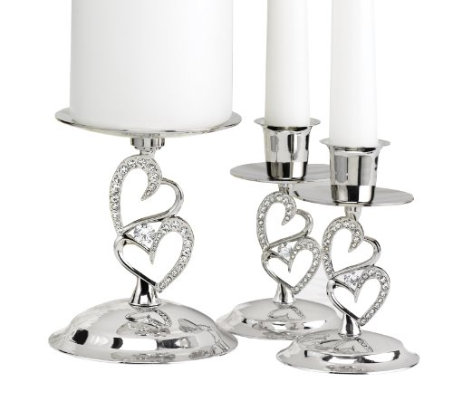 (Hortense B. Hewitt Wedding Accessories Nickel-Plates Sparkling Love Candle Stands, Set of 3)