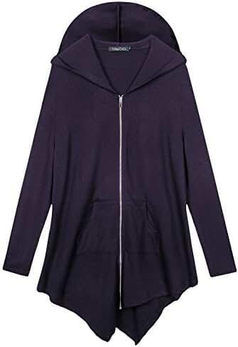 Women's Pluse Size Hooded Sweatshirt Jacket Cape Style