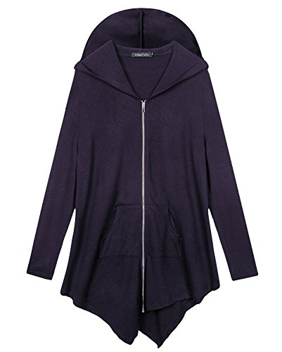 Women's Plus Size Hooded Sweatshirt Jacket Cape Style (3XL, Purple)