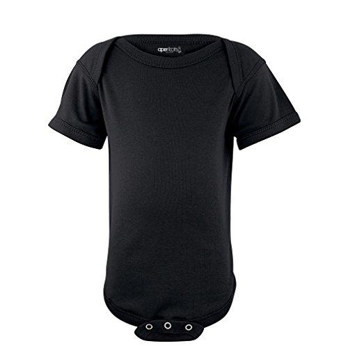 Apericots Super Soft Cotton Blank Plain Comfy Baby Short Sleeve Bodysuit Black