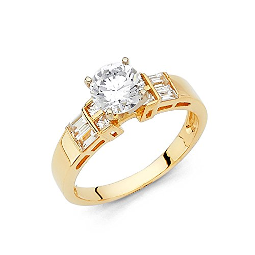 4.2mm 14K Engagement Ring in White Gold with 1 ct Round Center and Princess & Baguette Side Stone Size 8.5 (Detailed Baguette)