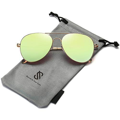 SOJOS Classic Aviator Mirrored Flat Lens Sunglasses Metal Frame with Spring Hinges SJ1030 with Gold Frame/Olivine Mirrored Lens (Kupfer Aviators)
