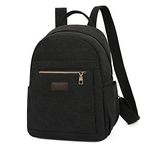 IAMUP Fashion Backpack Fashion Neutral Solid Color Canvas Backpack Student Computer Bag Black