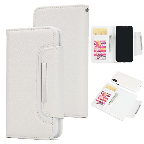 Lunazoe iPhone Xs Max Case(White),Leather Wallet Phone Case with Card Holder Wide Buckle Magnetic Detachable ()