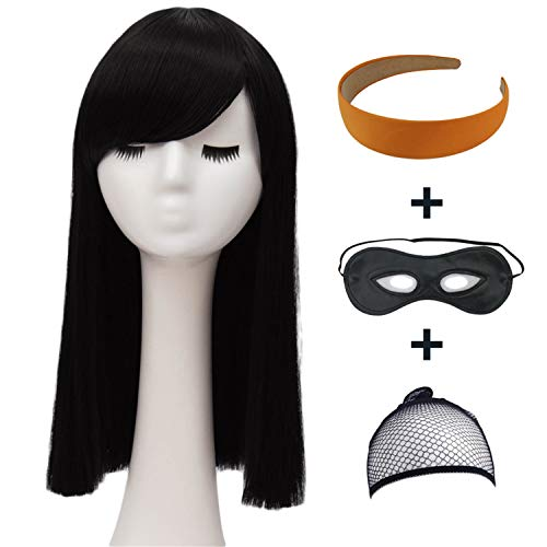Long Black Hair Wigs for Women Kids Straight Natural Cosplay Wig with Orange Headband and Eye Mask BU136 by Bopocoko