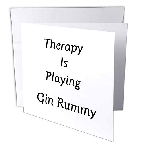 3dRose Lens Art by Florene - Therapy is - Image of Therapy is Playing Gin Rummy in Bold Typography - 1 Greeting Card with Envelope ()