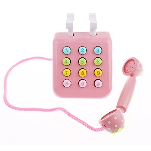 Sharplace Téléphone en Bois Jouet de Dîette Portable Multicoloré Pour Tout-petits - Rose