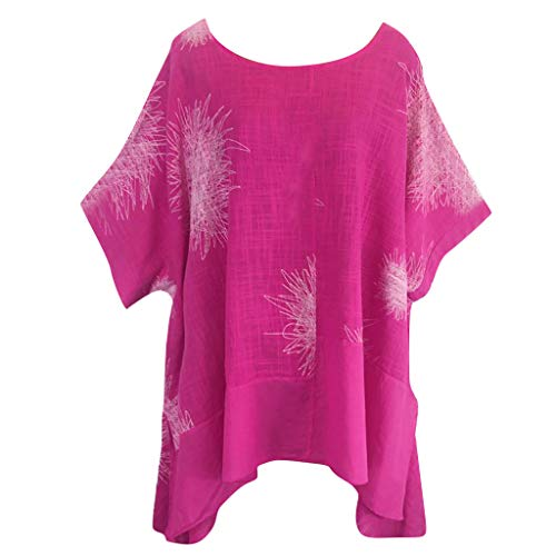 Willow S Plus Size Women Short Sleeve Round Neck Dandelion Printing Cotton and Linen Loose T-Shirts Tops Blouses Hot Pink ()