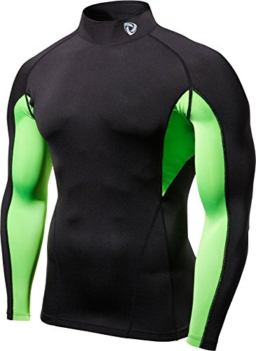 TM-T12-KNBZ_Large Tesla Men's Turtle Mock Long-Sleeved T-Shirt Cool Dry Compression Baselayer T12
