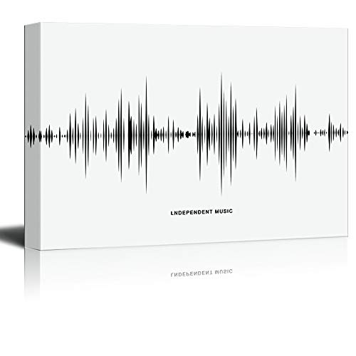 Musical Instruments Theme Sound Wave Pattern in Black and White