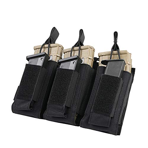 EXCELLENT ELITE SPANKER Open-Top Single/Double/Triple Mag Pouch for M4 M16 AK AR Magazines and Pistol Mag Pouch(Black) (M4 Triple Mag Pouch)