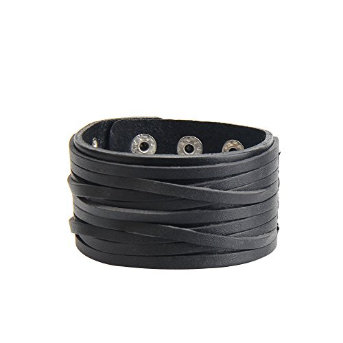 VirgoL Punk Style Wide Leather Belt Wristband Rock Wrap Cuff Bracelet LeatherB-Black (Punk Rock Accessories)