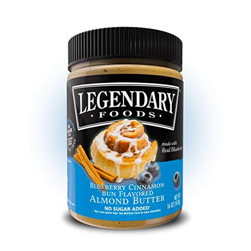 Legendary Foods Almond Butter | Keto Diet Friendly, Low Carb, No Sugar Added, Vegan | Blueberry Cinnamon Bun (16oz Jar)