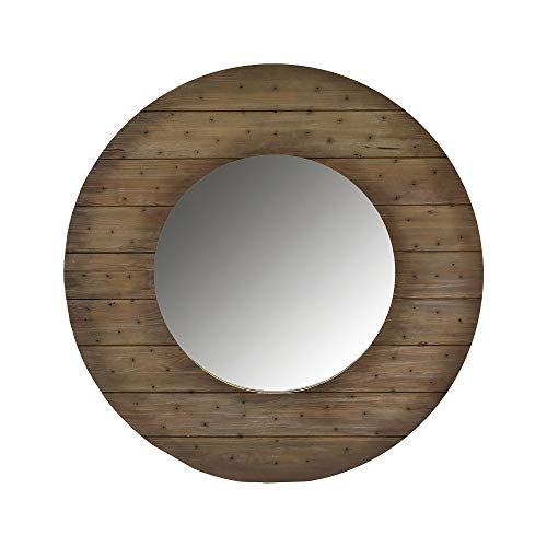 """Contemporary Home Living 58"""" Rounded Shiplap Wall Mirror with Brown Mahogany Frame"""