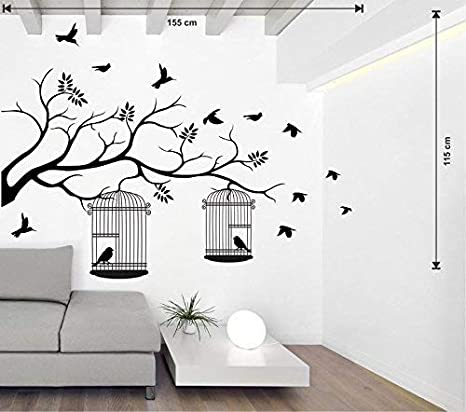 Printelligent Wall Sticker For Walls Vine With Bird Cage And Butterfly White Wall Sticker And Wallpaper Size 133 59 Cm