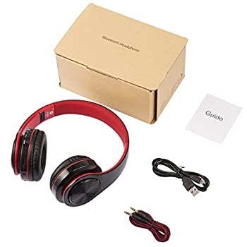 Bluetooth Headphones Over Ear, Hi-Fi Stereo Wireless Headset, Foldable, Soft Memory-Protein Earmuffs, w/Built-in Mic Wired Mode PC/Cell Phones/TV (Red)