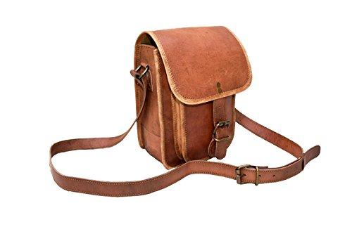[Rust Leather Unisex Leather Bag Crossbody Women Men Messenger 9x7x3 Inches Brown / Tan] (Replica Makeup)