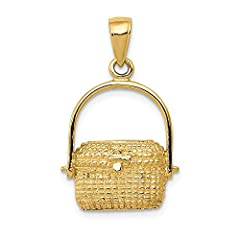 ICECARATS DESIGNER JEWELRY 14K YELLOW GOLD LARGE NANTUCKET BASKET PENDANT CHARM NECKLACE                              Material Purity : 14K         Length : 25 mm         Feature : Solid         Manufacturing Process : Casted ...