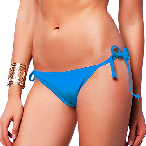(FITTOO Sexy V Cut Bikini Bottom Tie Sides for Women Cheeky Booty T-Back Ladies Swimsuit Blue M)